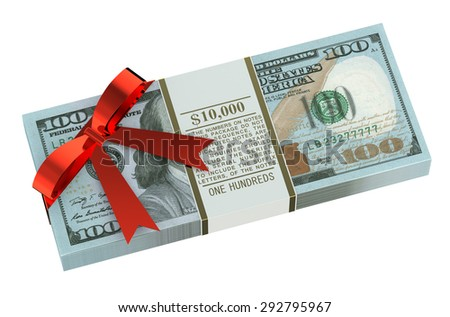 Money gift concept isolated on white background