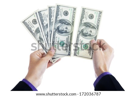 Money in human hands isolated on white background