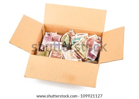 Money in paper box