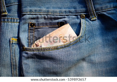 Money in pocket jeans