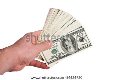 money in the hand isolated on white