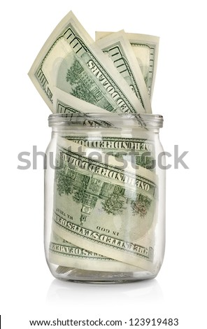 Money in the jar isolated on white background