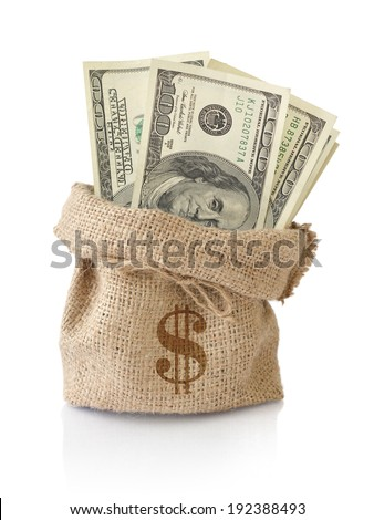 Money in the sack isolated on a white background