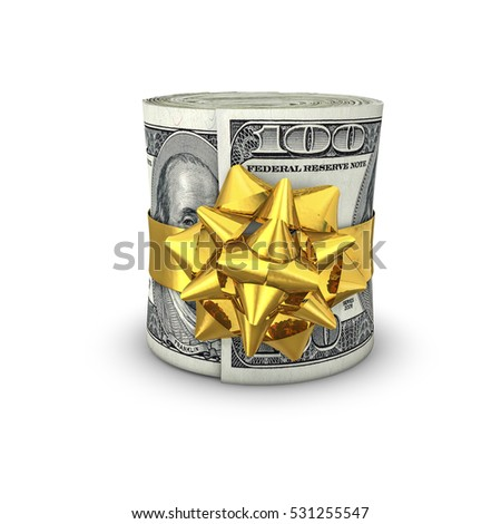 Money roll gift dollars / 3D illustration of rolled up hundred dollar bills tied with ribbon