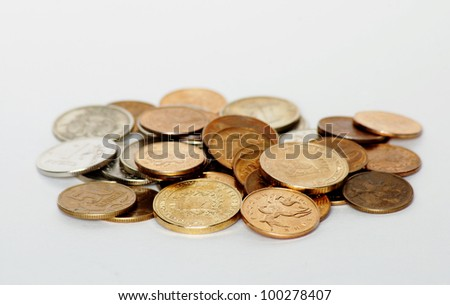 Money Russian coins on white background isolated