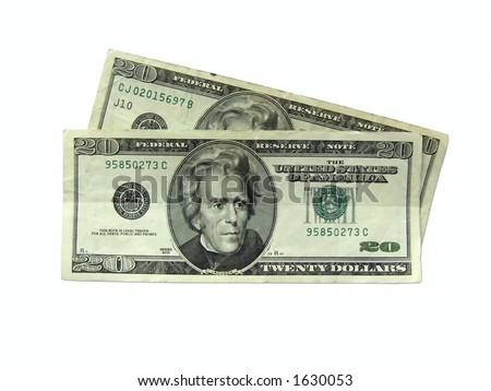 Money - Twenty Dollars Bills with clipping path