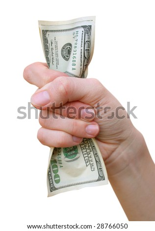 money with hand isoalted on white