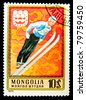 MONGOLIA - CIRCA 1975: A stamp printed in Mongolia shows ski jumper, series devoted Olympic games in Innsbruck 1976, circa 1975 - stock photo