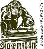 monkey as a DJ - stock vector