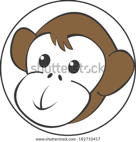 Monkey head in a circle on white background