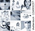 Monochromatic collage made of many medical images - stock photo