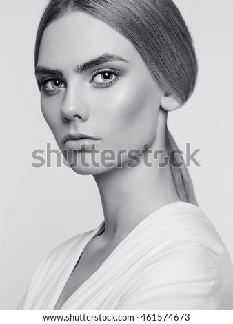 monochrome beauty portrait of young woman.black and white beautiful model girl