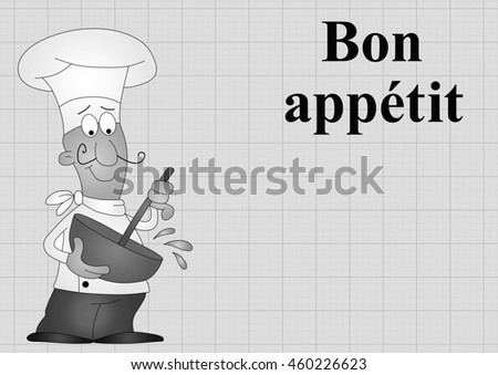 Monochrome Chef with bon appetit which translates as enjoy your meal on graph paper background with copy space for own text