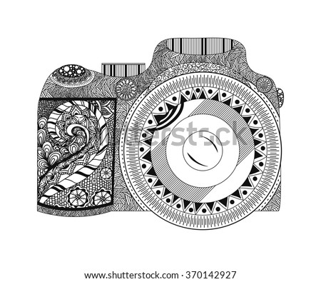 vector monochrome coloring page camera hand stock vector 339806933