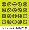 monochrome fluorescent dot-based icon set for control screens and web design. more icons are available. raster version - stock vector
