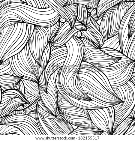 monochrome seamless abstract hand-drawn wave. Endless floral pattern. Can be used for wallpaper, pattern, backdrop, surface textures. monochrome color seamless floral background