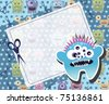Monster card blue, raster - stock photo