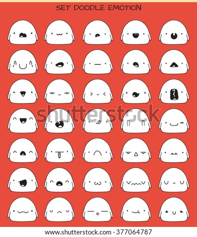 Monsters cute stickers, set isolated of 35 pieces sketch characters with doodle emotions. Design drawn icons