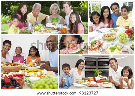 Montage of families and senior people eating fresh healthy lifestyle food