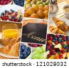 Montage of menu & macro photographs of fresh food, fruit and breakfast, a healthy diet lifestyle - stock photo