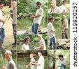 Montage of two men fishing - stock photo