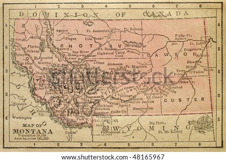 Montana, circa 1880. See the entire map collection: http://www.shutterstock.com/sets/22217-maps.html?rid=70583