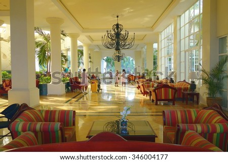 MONTEGO BAY, JAMAICA - SEPTEMBER 10, 2015: Exclusive resort hotel main lobby in Montego Bay, Jamaica.