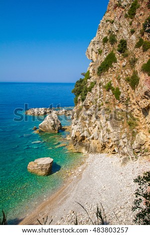 Montenegro, Petrovac, a hidden beach in the rocks