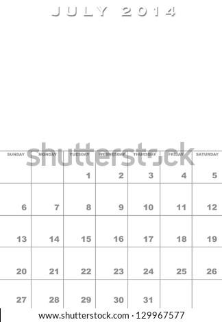 Month August 2017 Calendar Template Background Stock Illustration
