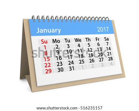 Monthly table calendar for January 2017. Colorful cardboard table calendar for January 2017. Table calendar series. 3d illustration