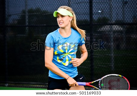 MONTREAL - AUGUST 6: Eugenie Bouchard practice at the 2012 Rogers Cup on August 6, 2012 in Montreal, Canada