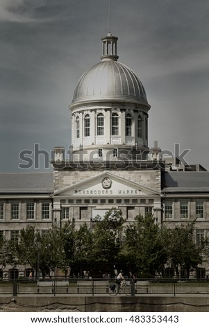 MONTREAL-CANADA, 20 August 2014: View of marche bonsecours in the old port in Montreal, Quebec