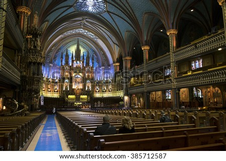 Montreal,Canada - January 26,2016 : Notre Dame Basilica