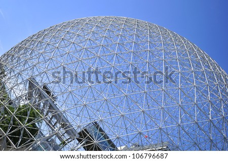 MONTREAL,CANADA-JUNE 23:General view of The Biosphere on June 23, 2012 Montreal.It is a museum dedicated to the environment. Located at Parc Jean-Drapeau in the former pavilion of the United States.