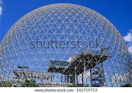 MONTREAL, CANADA - JUNE 17: the geodesic dome called Montreal Biosphere on June 17, 2013 in Montreal, Canada. This museum dedicated to water and the environment and It's located at Parc Jean-Drapeau.