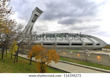 MONTREAL,CANADA - OCTOBER 21. The Montreal Olympic Stadium tower on October 21, 2012. It's the tallest inclined tower in the world.Tour Olympique stands 175 meters tall and at a 45-degree angle