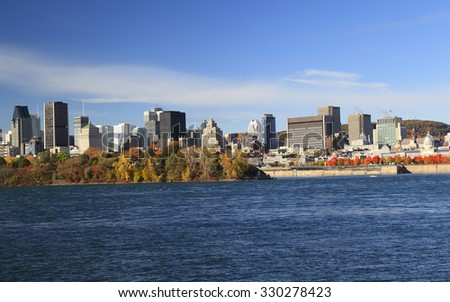 Montreal skyline and Saint Lawrence River in autumn, Quebec, Canada