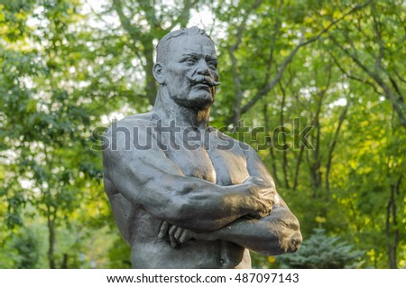 Monument to Ivan Poddubny in the city of Yeisk, Krasnodar region, Russia, August 15, 2016
