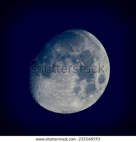 Moon almost full seen from the northern hemisphere with a telescope