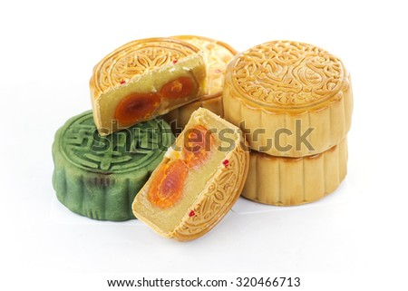Moon cake on white background / Autumn festival foods