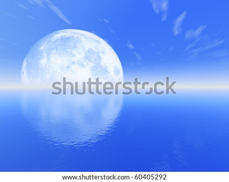 Moonset above water