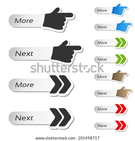 more, next buttons - black and color hands and arrows icons