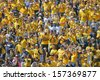 MORGANTOWN, WV - SEPTEMBER 28: West Virginia University fans, dressed mostly in gold, cheer their team during the football game September 28, 2013 in Morgantown, WV. - stock photo