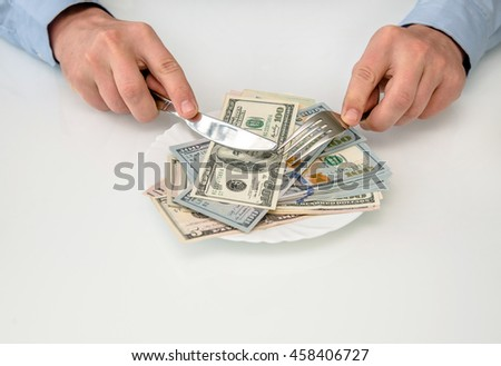 morning breakfast concept American money on a plate
