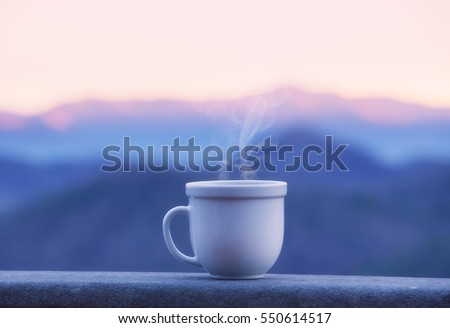 Hot coffee sunrise vintage filter stock photo 343640420 for Alpine cuisine coffee cups