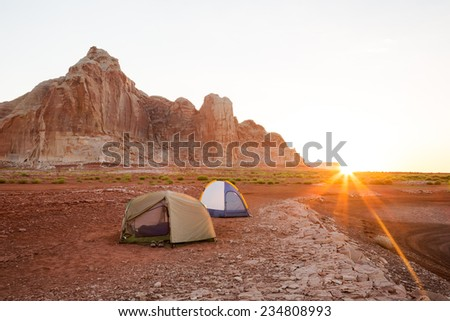 Morning Glow at Camp (On the Desert Shoreline of Lake Powell in Glen Canyon National Recreation Area)