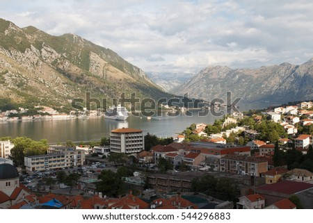 Morning in Kotor. View of the city, the mountains and the Bay of Kotor. Montenegro
