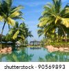 Morning in luxury resort in South Goa. India - stock photo