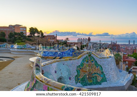 Morning panorama of Barcelona, Spain viewed from Park Guell