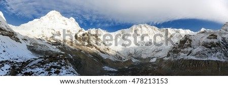 Morning panoramic view from mount Annapurna south base camp, Nepal